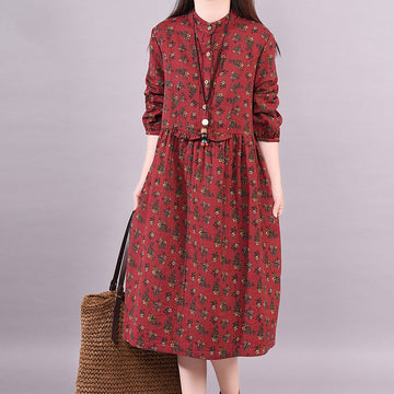Spring Sprint Long Sleeve Pocket Round Neck Floral Dress