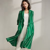 Spring Stripe Cardigan Plus Size Green Trench Coat