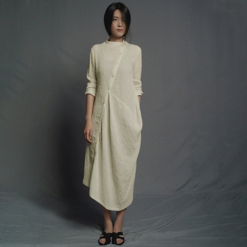 Plus Size - Irregular Solid Color Linen Cotton Midi Dress