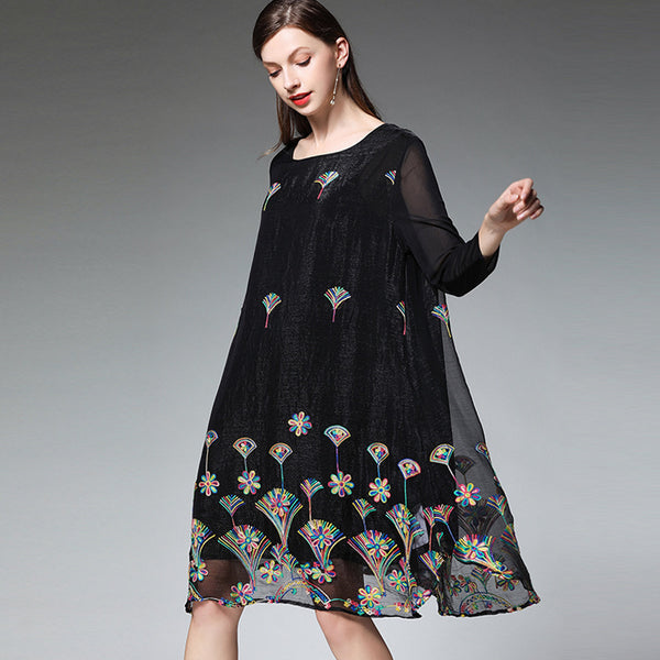 Spring Summer Loose Half Sleeve Plus Size Dress