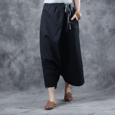 Spring Women Cotton Elastic Waist Wide Leg Pants