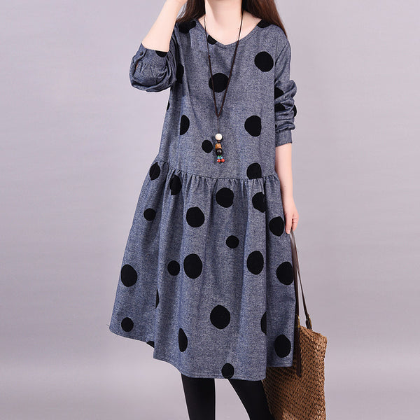 Spring Women Long Sleeve Pocket Cause Soft Dress