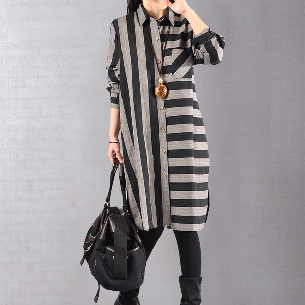 Spring Women Stripe Loose Cotton Shirt