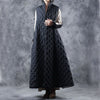 Stand Collar Black Long Women Reversible Waistcoat