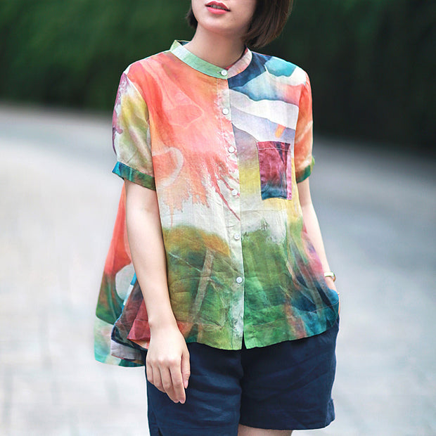 Stand Collar Casual Loose Printed Blouse