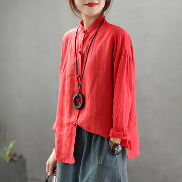 Stand Collar Loose Solid Color Linen Shirt
