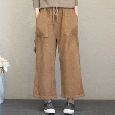 Straight Mid Wiast Solid Pockets Autumn Ankle Pants