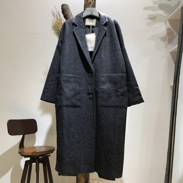 Straight Woolen Women Solid All-match Overcoat