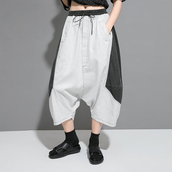 Street Personality Spliced Cotton Baggy Pants
