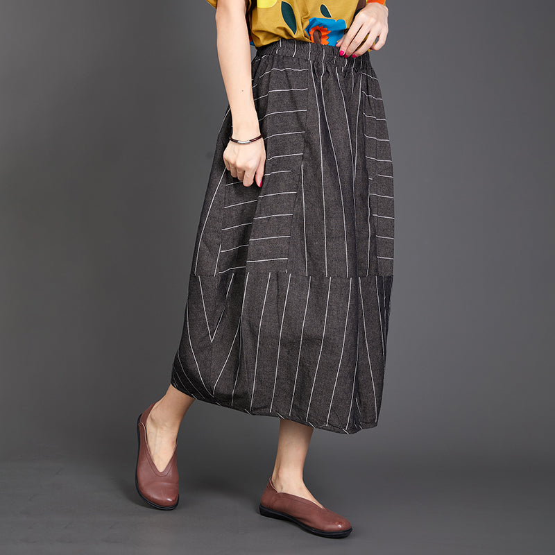 Stripe Baggy Women Elastic Waist Loose Skirt