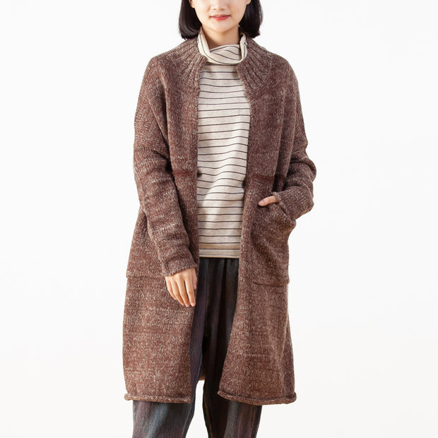 Women Wool Cardigan Solid Winter Coat