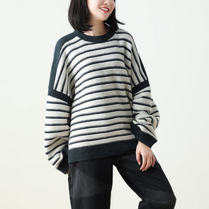 Stripe  Drop Shoulder Top Black Denim Pants