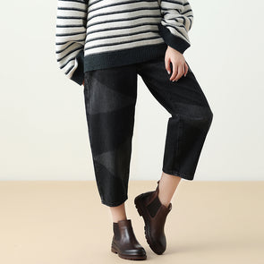 Women Harem Casual Black Denim Pants