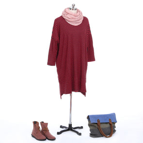 Stripe Drop Sleeve Dress And Boots Style