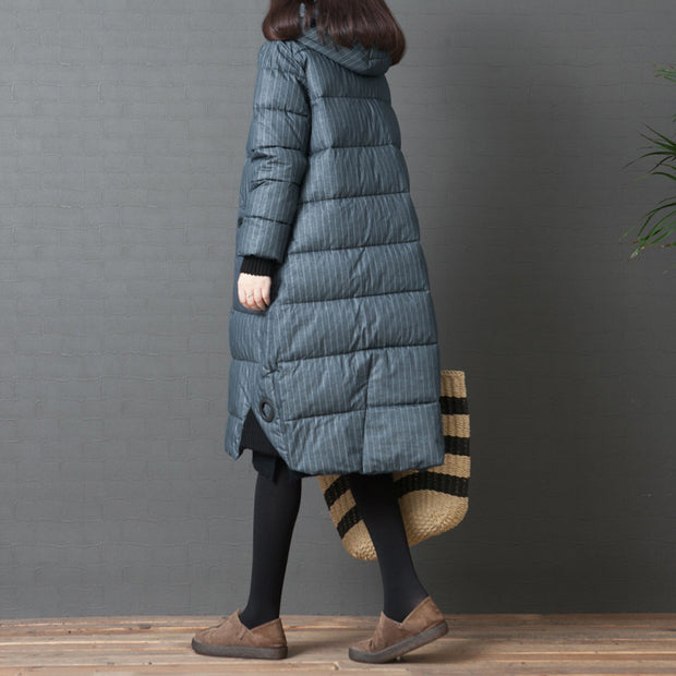 Stripe Hoodie Split Zipper Up Women Cotton Coat