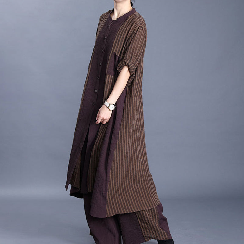 Stripe Irregular Long Blouse And Wide Leg Pants