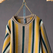 Stripe Knit Retro Female O-neck Pullover Sweater