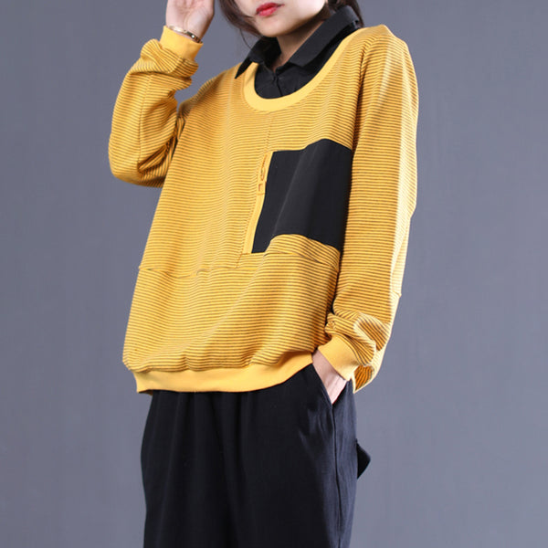 Stripe Patchwork Fake Two Piece Pocket Sweatshirt
