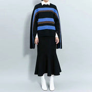 Stripe Split Sleeves With Buttons Loose Sweater