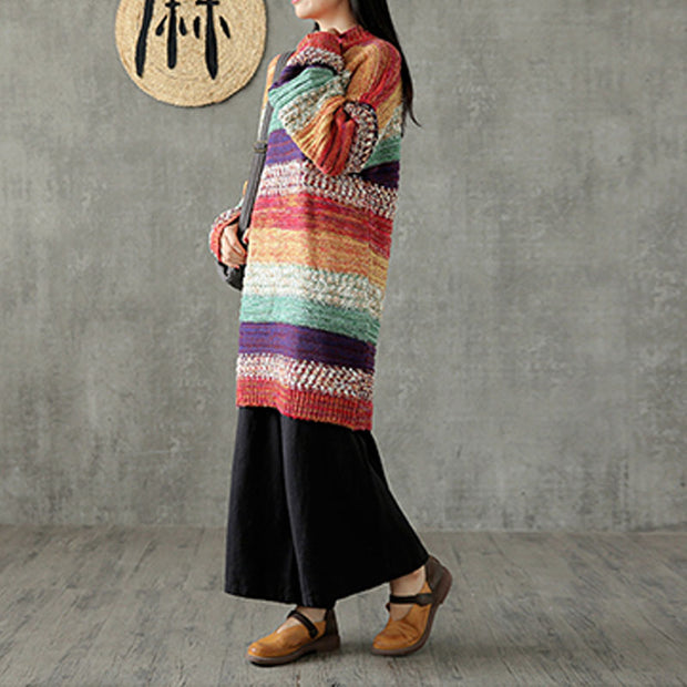 Stripe Women Long Straight Rainbow Sweater
