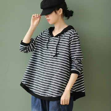 Striped Drawstring Loose Hooded Blouse