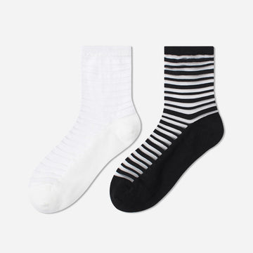 Striped Splicing Summer Thin Socks For Women (3 Pairs)