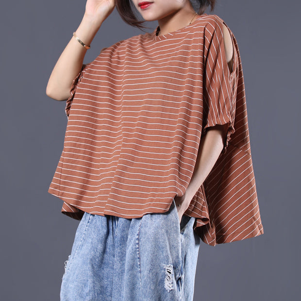 Striped Batwing Sleeve Loose Breathable T-Shirt