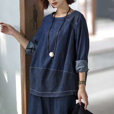 Striped Blue Denim Pullover Women Top