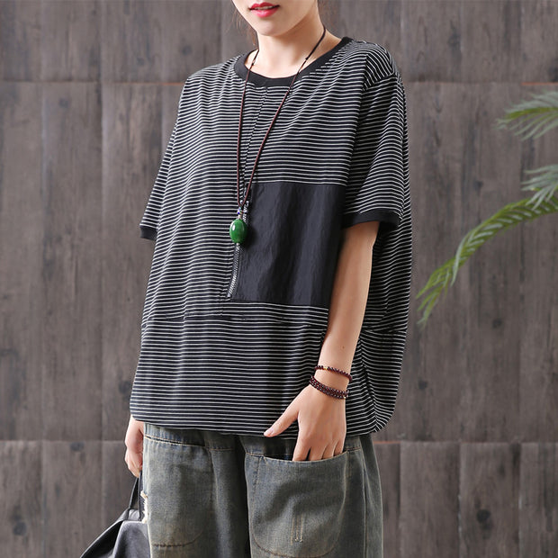 Striped Spliced Short Sleeve Loose Blouse