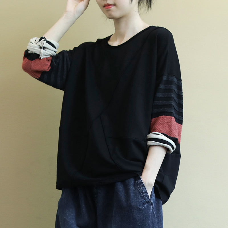 Striped Stitching Sleeves Casual O-neck Blouse