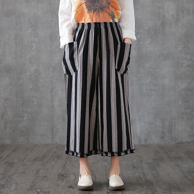Striped Wide Leg Elastic Waist Pants With Pockets