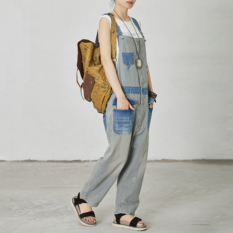 Stripes And Frayed Casual Loose Jumpsuit