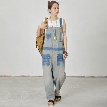 Stripes And Frayed Casual Loose Dungarees