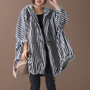 Stripes Drawstring Casual Loose Hooded Coat