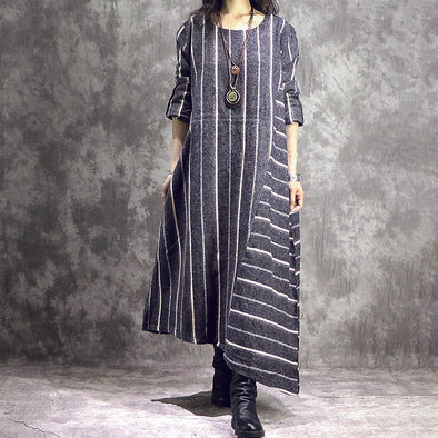 Stripes Irregular Hem Loose O-neck Wool Dress