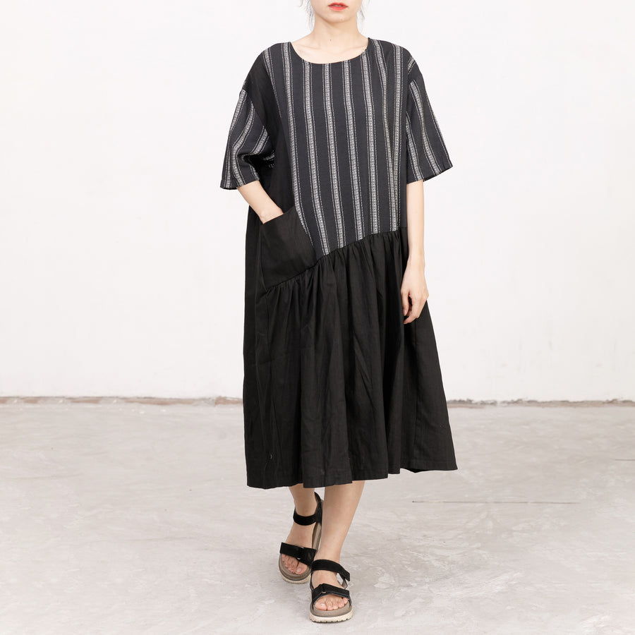 Stripes Irregular Spliced Loose Casual Dress