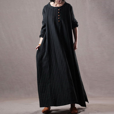 Stripes Long Sleeve Autumn Black Maxi Dress