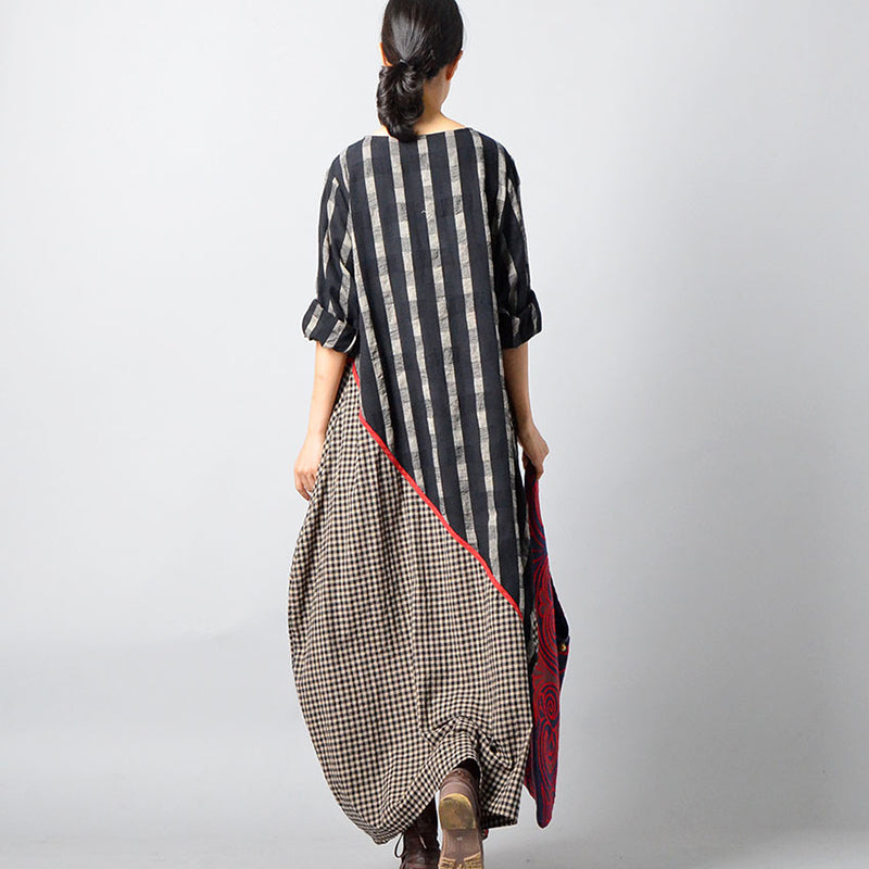 Plus Size - Stripes Plaid Spliced Irregular Cotton Linen Dress