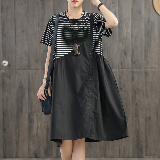 Stripes Spliced Round Collar Casual Dress