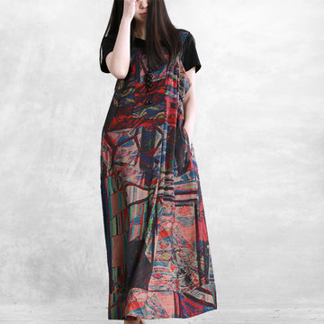 Summer Abstract Printed Linen Suspender Dress