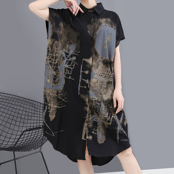 Summer Abstract Prints Irregular Shirt Dress