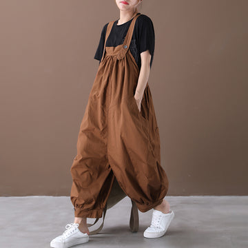 Summer Big Pockets Solid Color Cotton Jumpsuit