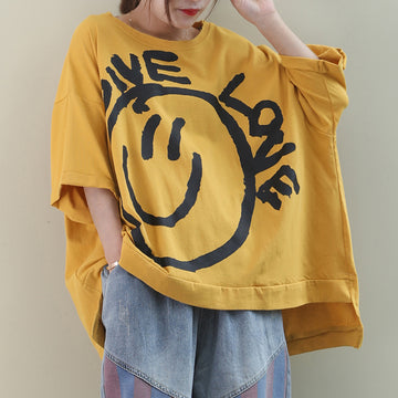 Summer Big Smiley Loose Irregular Hem Cotton T-shirt