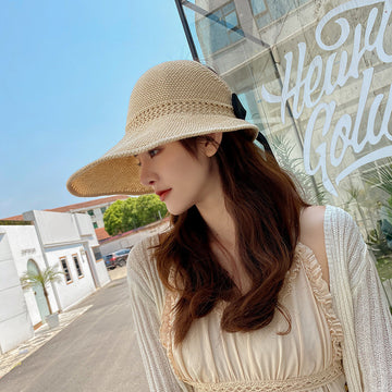 Summer Bowknot Solid Color Empty Top Straw Hat