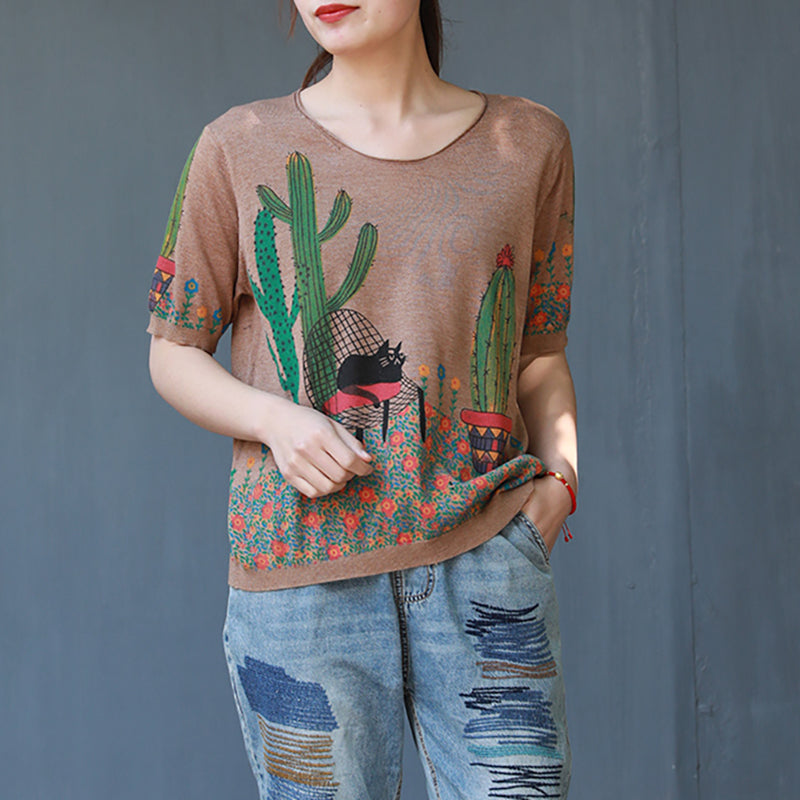 Summer Cactus Printed Cotton Knitted T-shirt