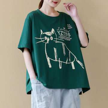 Summer Cartoon Cat O-neck Cotton T-shirt