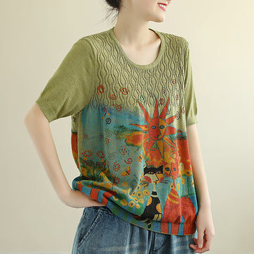 Summer Cartoon Printed Round Neck Knitted Cotton T-shirt