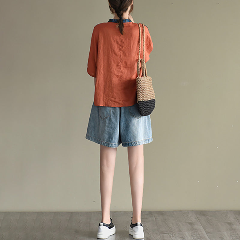 Summer Color Contrast Patchwork T-shirt