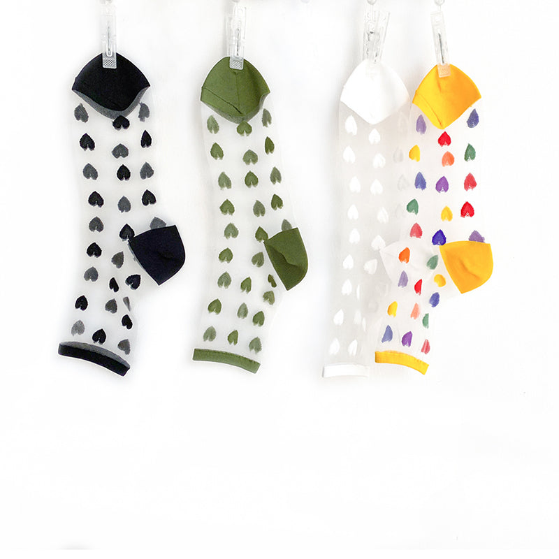 Summer Colored Heart Transparent Socks (3 Pairs)