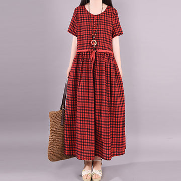 Summer Drawstring Plaid Cotton Ankle-length Dress